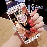 Hancda Hülle für Samsung Galaxy S7, Hülle Case Handyhülle Glitzer Spiegel Hüllen Diamant Schutzhülle Glitter Bling Glänzend Cover Silikonhülle mit Ring Ständer Stand für Samsung Galaxy S7-Rose Gold