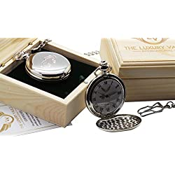 AC Cobra Pocket Watch Full Hunter Silver Plated with Chain Emblem Logo and Gift Case