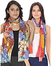 Anekaant Multicolour Digital Printed Viscose Stole Pack Of 2 (50x180 cm)