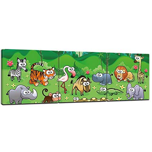 (Bilderdepot24 Kunstdruck - Kinderbild Dschungeltiere Cartoon - Bild auf Leinwand - 90x30 cm 3tlg - Leinwandbilder - Bilder als Leinwanddruck - Wandbild Kinder - Afrika - fröhliche Tiere)