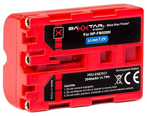 Baxxtar Pro Energy batería para Sony NP-FM500H (2040mAh UL Certificado) con Infochip-Sistema de batería inteligente