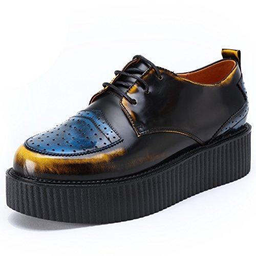 RoseG Herren Leder Schnürsenkel Plateauschuhe Platform Creeper Schuhe Gelb Size 41