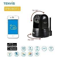 TENVIS IPROBOT3 Cámara IP H.264 P2P Wireless WIFI Seguridad Internet IP Cámara HD Visión nocturna, Detección de movimiento, 1280 x 720, 5 x zoom digital ,Soporte iPhone y Android