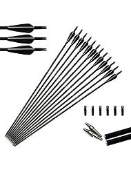 6pcs 31 Zoll Bogenschießen Carbon Pfeile Jagd Pfeile 350 Wirbelsäule mit ersetzen Pfeilspitzen für Compound und Recurve Bogen 30-70 Pfund