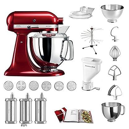 KitchenAid-Kchenmaschine-Artisan-5KSM175PS-Pasta-Paket-inkl-TOP-Zubehr-Nudelvorsatz-mit-3-Walzen-Pastapresse-kurz-mit-6-Aufstzen-Nudeltrockner-und-Standardzubehr