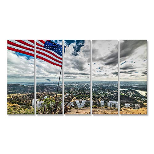 bilderfelix® Bild auf Leinwand Los Angeles, CA, USA - 28. Oktober 2016: US-Flagge von Holly Wandbild, Poster, Leinwandbild LZZ Los Angeles-holly