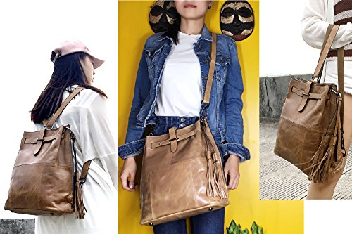 Sheli Marrone Design Unico Fringe Convertibile in Pelle Hobo Drawstring Crossbody Borsa Zaino per le Donne Beige