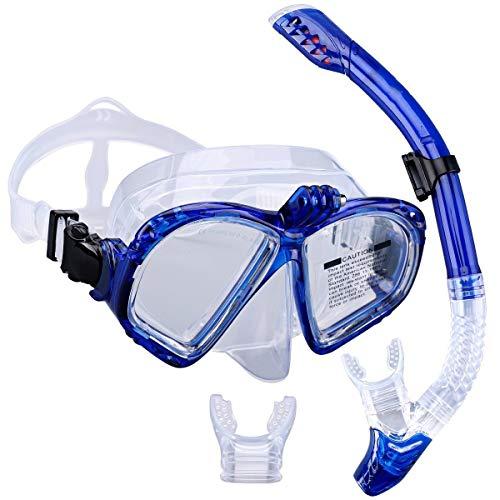 AYUE® Premium Schnorchel Set Erwachsene Tauchmaske Schnorcheln Tauchen Schwimmbrille Trockenschnorchel Set mit Kamerahalterung