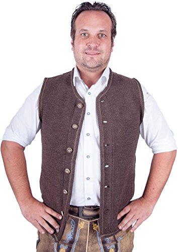 Almwerk Herren Trachten Strick Weste Modell Xaver, Farbe:Braun;Größe:58