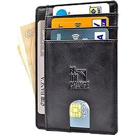 Portafoglio Uomo Piccolo Sottile – Mini Porta Carte Credito Uomo Pelle con Protezione RFID e Tasca Banconote…