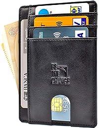 a00559ecb4 Portafoglio Uomo Piccolo Sottile - Mini Porta Carte Credito Uomo Pelle con  Protezione RFID e Tasca