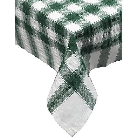 Seersucker Check 100% Cotton Traditional Napkins 18 x 18 Garden Picnic (Dark Green) by Downview