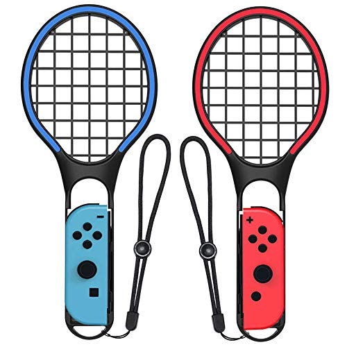 leegoal Tennisschläger für Nintendo Switch, Tennis Racket für Mario Tennis Aces Nintendo Switch Joy-Con Controller Twin Pack Grips für N-Switch Game: Tennis World Tour, Mario Tennis Open, etc.