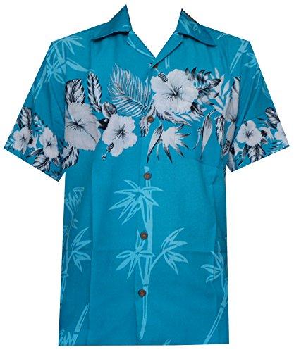 Hawaiian Shirts Herren Bambus Baum Print Strand Aloha Party Urlaub Gr. XXXX-Large, türkis (Hawaii-shirt Bambus)