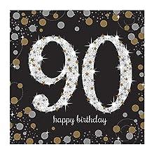 amscan 9901729 90th Birthday Glittery Gold Luncheon Napkins, 90