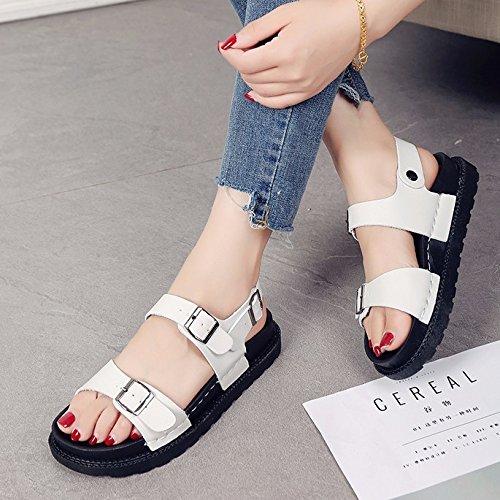Lgk & Sandales D'été Femmes Chaussures D'été Sole Sandales Étudiants Tout-allumette Plaque Blanche