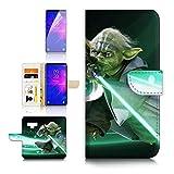 (pour Samsung Note 9, Galaxy Note 9) Portefeuille Flip Coque Protecteur d'écran et Bundle–A40433Starwars Yoda