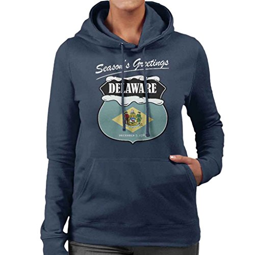 Seasons Greetings Delaware State Flag Christmas Women's Hooded Sweatshirt (Delaware Klassischen Sweatshirt)