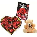 Skylofts Romantic Heart Box With Heart Shaped Chocolates, A Cute Teddy & Love Card Gifts For Girl Friend, Boy Friend