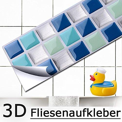 Set of 4 25,3 x 5,4 cm grandora Mosaic 3D Tile Decals W5195 Self Adhesive Kitchen Bath Wall Stickers Tile Decor Foil Blue Turquoise Silver
