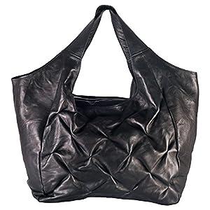 FEYNSINN bolso de hombro LILLY - piel genuina negro - cartera - grande XL - bolso de asas (42 x 35 x 12 cm)