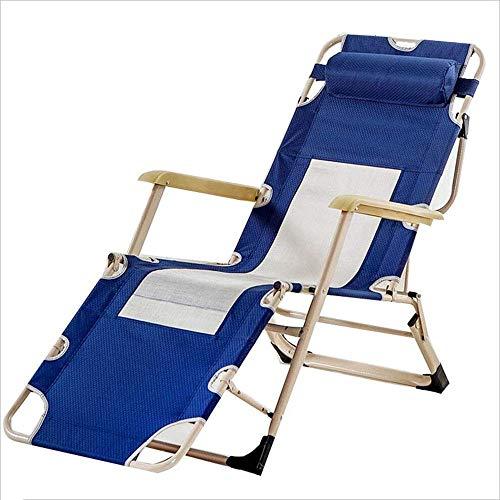 WJJJ Liegestuhl Klappstuhl Tragbarer Aluminium-Multifunktions-Klappbett-moderner lässiger Designer-Stuhl Blau -