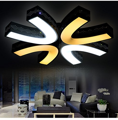 LED Deckenleuchte 2037 mit Fernbedienung 3 Modus Acryl-Schirm weiß und schwarz lackierte Metallrahmen durchbohrte Design Energieeffizienzklasse: A+ (2037-800 mm 64w) LED Wohnzimmerleuchte Kronleuchte Pendelleuchte DeckenlampeDeckenstrahler LED Deckenleuchte Hängeleuchte Hängelampe LED lampe LED Leuchte Beleuchtung Einbauleuchte Wandleuchte Spot Lüster