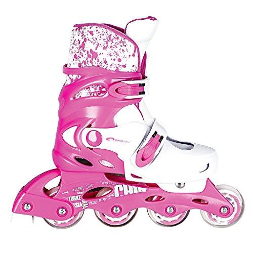 SPOKEY® SPLASH Inline Skates Kinder/Damen (31-34 // 35-38 Rollerskates Inliner Blades Größenverstellbar Softboot), Farben:Rosa-Weiss;Größe/Size:31-34