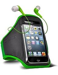 Fone-Case HTC One M7 verstellbaren Sport Fitness Jogging Arm Band Hülle & 3,5 mm In-Ear-Ohrhörer Basis Ohrhörer (grün)