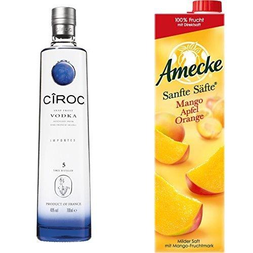 Ciroc Ultra Premium Vodka (1 x 0.7 l) mit Amecke Sanfte Säfte Mango-Apfel-Orange - 100%, 6er Pack (6 x 1 l)