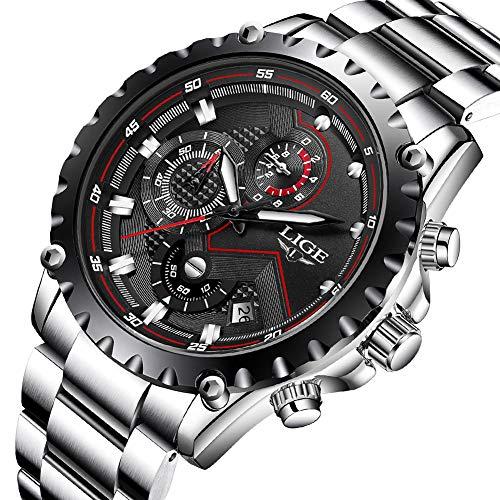 Orologio da uomo sportivo cronografo orologio da uomo di lusso lige orologio da uomo analogico moda di moda da uomo orologio da polso in acciaio pieno nero