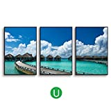 DONG Marco Madera Foto Muro Marco de fotos collage Foto de decoración de la pared pinturas lago simple paisaje vista al mar muelle sala de estar sofá de fondo pintura de pared ( Color : T , Tamaño : 11.8*15.7in(3pieces) )
