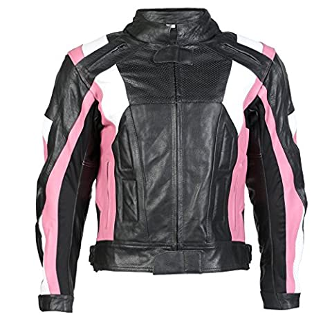 Texpeed - Veste de moto renforcée - femme - cuir - rose/noir - tailles UK 10-22 - UK 16 - 106 cm