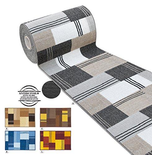 Arrediamoinsieme-nelweb tappeto cucina tessitura piatta retro antiscivolo moderno quadri multiuso corridoio bagno camera mod.fakiro13 57x140 beige (a)