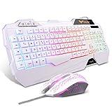 HAVIT Tastiera e Mouse da Gioco Filo Gaming Tastiera e Mouse Impostati con Luce LED, 4 Livelli DPI, 8 Tasti Multimediali e 19 Tasti Anti-ghosting 7 Diversi Colori, per PC (Layout FR Bianco)