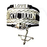 Braided Daryl Dixon Skull Bracelet Expandable Walking Dead Fans Gift-Black with Silver