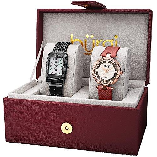Burgi Femme Bur178bk-s Diamant et cristal Accentuée Bracelet et satiné Sangle 2montre Box Set