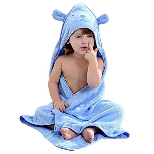 aigemi Weiche Baby Kapuzentuch-100% Bio Baumwolle Handtuch für Kleinkinder & Babys-Cute Bear Design, baumwolle, blau, 40