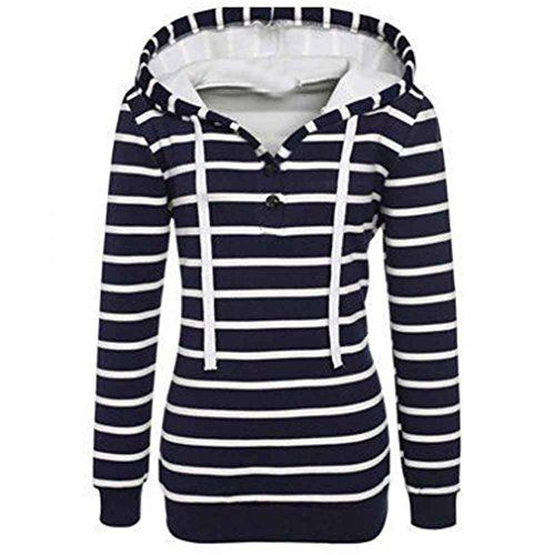 Damen Pullover ,Honestyi Damen Stripe lose Casual Langarm Hoodie Pullover Pullover Tops Mantel (L, Marine) (Pullover Hooded Stripe)