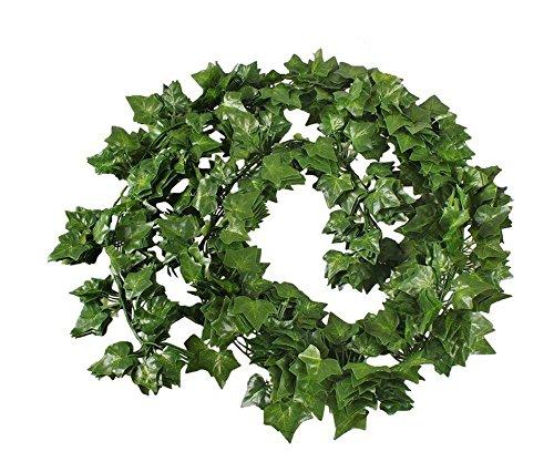 lätter Dekoration Künstlicher Grün Efeu Reben Pflanzen für Haus Dekoration im Innen- und Außenbereich (6 Stück) (Fake-efeu-blätter)