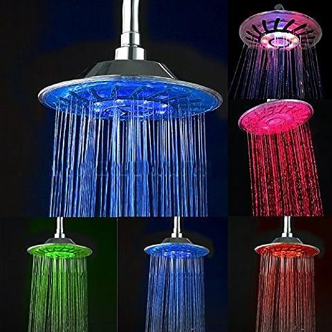 Vicloon Alcachofa para Ducha Cabeza de Ducha Pulverizador para Ducha con 7 Color LED Cambiar por Temperatura
