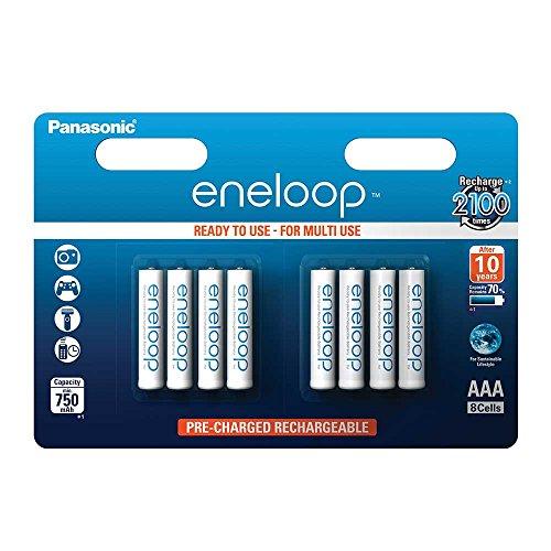 Panasonic eneloop, Ready-to-Use Ni-MH Akku, AAA Micro, 8er Pack, min. 750 mAh, 2100 Ladezyklen, geringe Selbstentladung