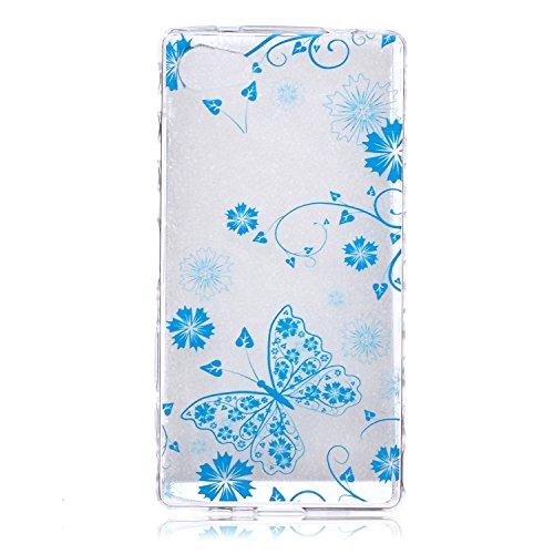Voguecase® Pour Apple iPhone 5C, Ultra-minces TPU Silicone Shell Housse Coque Étui Case Cover (plume grise)+ Gratuit stylet l'écran aléatoire universelle fleur bleue papillon