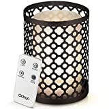 Odoga Aromatherapy Oil Diffuser, Ultrasonic Whisper Quiet Cool Mist Humidifier with Remote Control, Warm White Color, Candle Light Effect & Decorative Silver Iron Cover - 100ml -