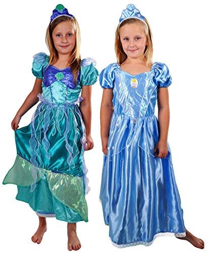 erdbeerloft- Mädchen Karneval Kostüm- Disney Doppel Wendekostüm Arielle zu Cinderella Märchen, hellblau und türkis, 3-4 (Doppel Kostüme Lustig Halloween)