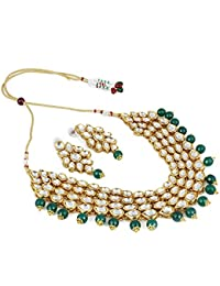 Andaaz Bollywood Inspired Green Onyx Stone Kundan Necklace Set With Earrings For Women/Girls