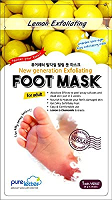"""'Triclosan'-free New Generation Lemon Extract Exfoliating Foot Mask - """"Sock type"""" Foot Exfoliating Exfoliator Care Mask - Perfectly Peel Away Calluses and Dead Skin Cells in Just 2 Weeks!!! - 1 Pair"""