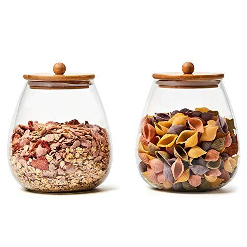 Ezoware set di 2 grande barattoli di vetro borosilicato, rotondo contenitori bottigliette con coperchio ermetico di legno bambù per conservazione di cucina, spezie, bagno, decorazione - 2000ml