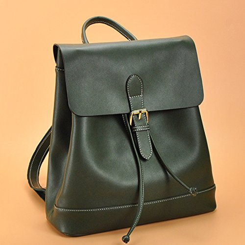 Mefly Simple Ledereimer All-Match Freizeit Leder Rucksack Frau Blackish green