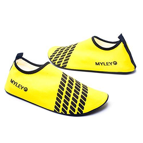 HYSENM Kinder Barfußschuhe Strandschuhe Badeschuhe Lycra hautfreundlich tragbar für Wassersport Hausschuhe Gelb